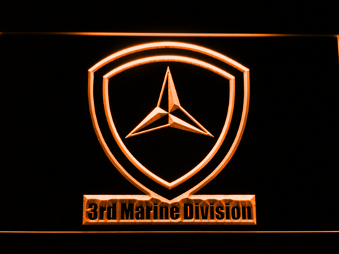 Image of US Marine Corps 3rd Marine Division LED Neon Sign - Orange - SafeSpecial