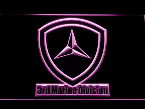 Image of US Marine Corps 3rd Marine Division LED Neon Sign - Purple - SafeSpecial