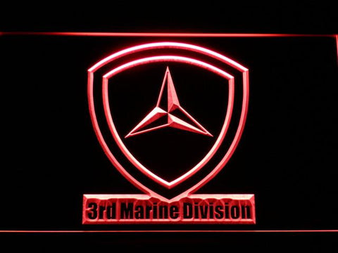 Image of US Marine Corps 3rd Marine Division LED Neon Sign - Red - SafeSpecial