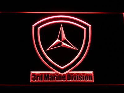 US Marine Corps 3rd Marine Division LED Neon Sign - Red - SafeSpecial