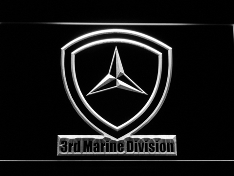 Image of US Marine Corps 3rd Marine Division LED Neon Sign - White - SafeSpecial