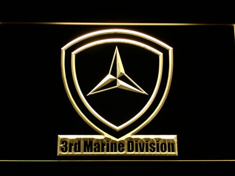 Image of US Marine Corps 3rd Marine Division LED Neon Sign - Yellow - SafeSpecial