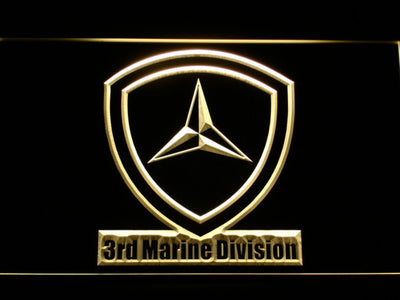 US Marine Corps 3rd Marine Division LED Neon Sign - Yellow - SafeSpecial