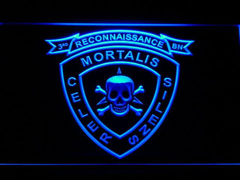 Image of US Marine Corps 3rd Recon Battalion LED Neon Sign - Blue - SafeSpecial