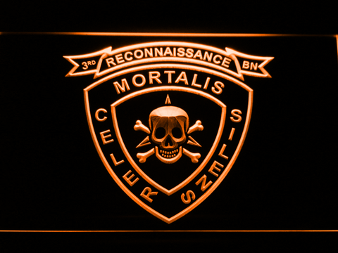 Image of US Marine Corps 3rd Recon Battalion LED Neon Sign - Orange - SafeSpecial