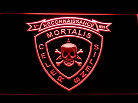 Image of US Marine Corps 3rd Recon Battalion LED Neon Sign - Red - SafeSpecial