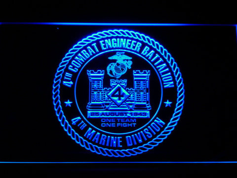 Image of US Marine Corps 4th Combat Engineer Battalion LED Neon Sign - Blue - SafeSpecial