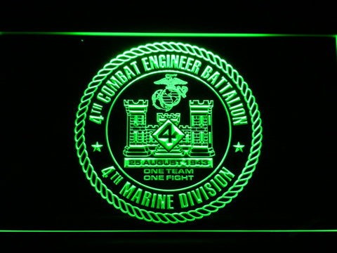 Image of US Marine Corps 4th Combat Engineer Battalion LED Neon Sign - Green - SafeSpecial