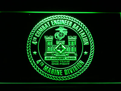 US Marine Corps 4th Combat Engineer Battalion LED Neon Sign - Green - SafeSpecial