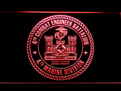 Image of US Marine Corps 4th Combat Engineer Battalion LED Neon Sign - Red - SafeSpecial