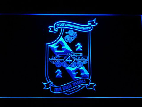 Image of US Marine Corps 4th Light Armored Recon Battalion LED Neon Sign - Blue - SafeSpecial