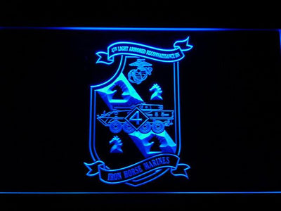 US Marine Corps 4th Light Armored Recon Battalion LED Neon Sign - Blue - SafeSpecial