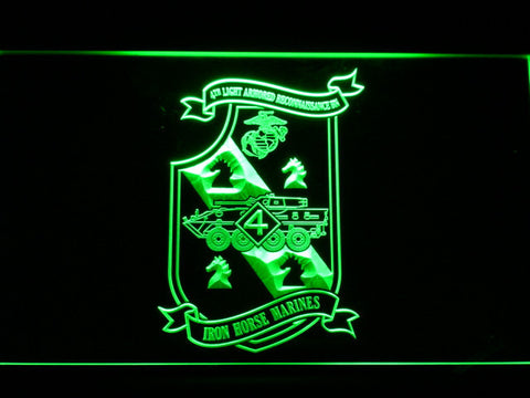 Image of US Marine Corps 4th Light Armored Recon Battalion LED Neon Sign - Green - SafeSpecial