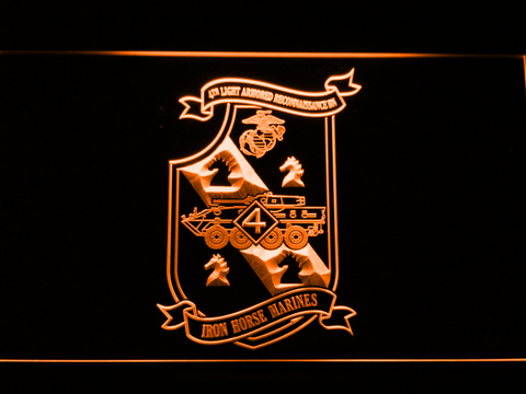 Image of US Marine Corps 4th Light Armored Recon Battalion LED Neon Sign - Orange - SafeSpecial