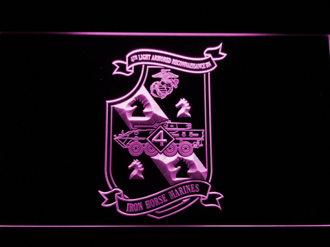 Image of US Marine Corps 4th Light Armored Recon Battalion LED Neon Sign - Purple - SafeSpecial