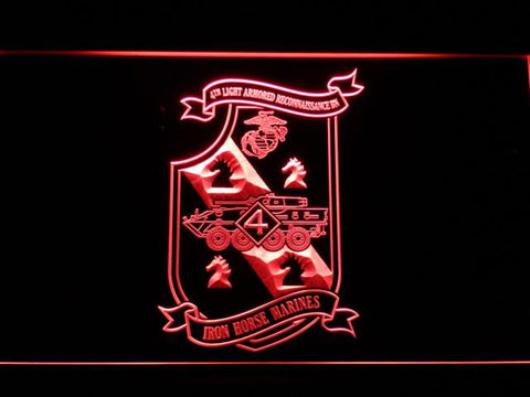 Image of US Marine Corps 4th Light Armored Recon Battalion LED Neon Sign - Red - SafeSpecial