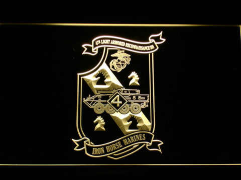 Image of US Marine Corps 4th Light Armored Recon Battalion LED Neon Sign - Yellow - SafeSpecial