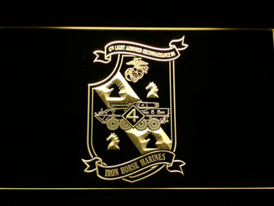 US Marine Corps 4th Light Armored Recon Battalion LED Neon Sign - Yellow - SafeSpecial