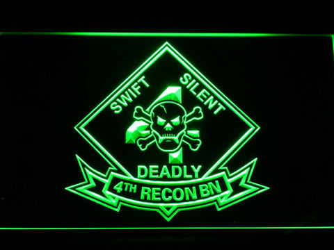 Image of US Marine Corps 4th Recon Battalion LED Neon Sign - Green - SafeSpecial
