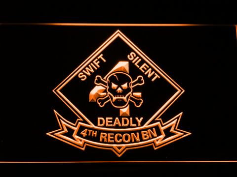 Image of US Marine Corps 4th Recon Battalion LED Neon Sign - Orange - SafeSpecial