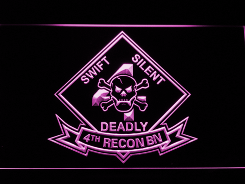 Image of US Marine Corps 4th Recon Battalion LED Neon Sign - Purple - SafeSpecial