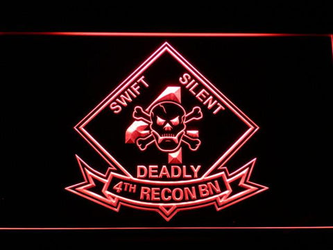 Image of US Marine Corps 4th Recon Battalion LED Neon Sign - Red - SafeSpecial