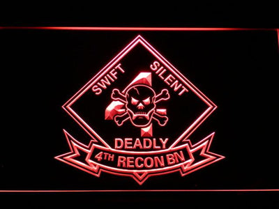 US Marine Corps 4th Recon Battalion LED Neon Sign - Red - SafeSpecial