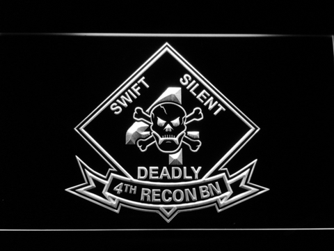 Image of US Marine Corps 4th Recon Battalion LED Neon Sign - White - SafeSpecial