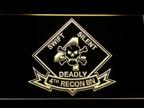 Image of US Marine Corps 4th Recon Battalion LED Neon Sign - Yellow - SafeSpecial