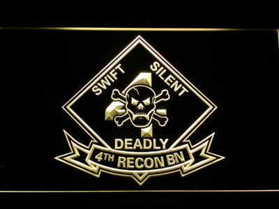 US Marine Corps 4th Recon Battalion LED Neon Sign - Yellow - SafeSpecial
