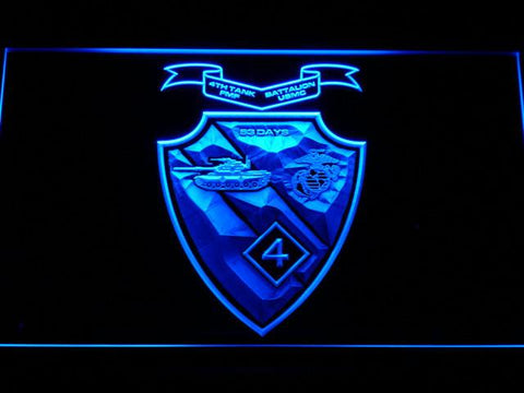 Image of US Marine Corps 4th Tank Battalion LED Neon Sign - Blue - SafeSpecial