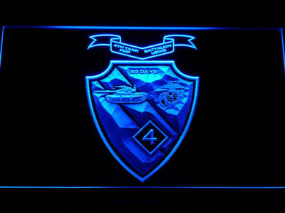 US Marine Corps 4th Tank Battalion LED Neon Sign - Blue - SafeSpecial