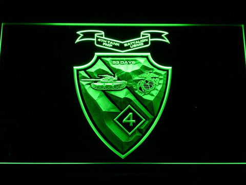 Image of US Marine Corps 4th Tank Battalion LED Neon Sign - Green - SafeSpecial