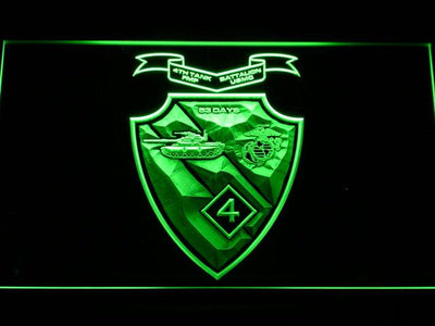 US Marine Corps 4th Tank Battalion LED Neon Sign - Green - SafeSpecial