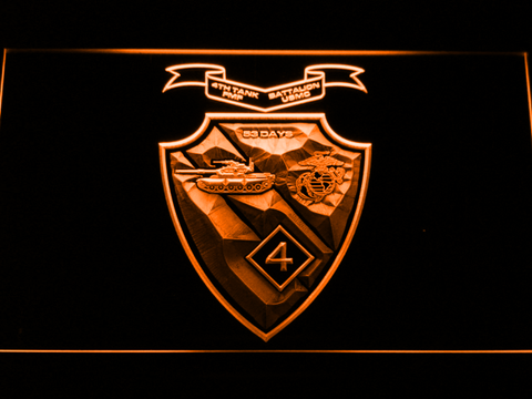 Image of US Marine Corps 4th Tank Battalion LED Neon Sign - Orange - SafeSpecial