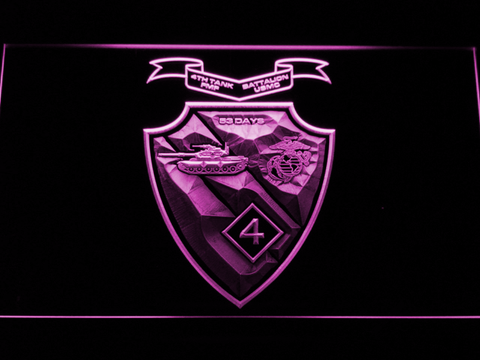 Image of US Marine Corps 4th Tank Battalion LED Neon Sign - Purple - SafeSpecial