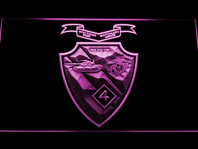 US Marine Corps 4th Tank Battalion LED Neon Sign - Purple - SafeSpecial