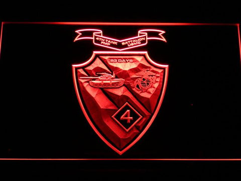 Image of US Marine Corps 4th Tank Battalion LED Neon Sign - Red - SafeSpecial