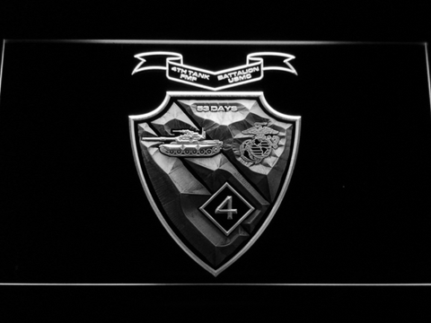 Image of US Marine Corps 4th Tank Battalion LED Neon Sign - White - SafeSpecial