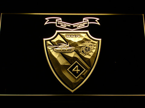 Image of US Marine Corps 4th Tank Battalion LED Neon Sign - Yellow - SafeSpecial