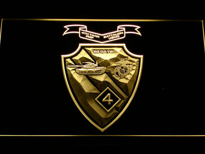 US Marine Corps 4th Tank Battalion LED Neon Sign - Yellow - SafeSpecial