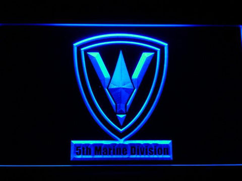 Image of US Marine Corps 5th Marine Division LED Neon Sign - Blue - SafeSpecial