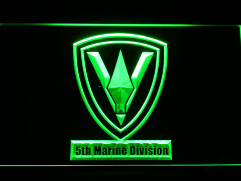 Image of US Marine Corps 5th Marine Division LED Neon Sign - Green - SafeSpecial
