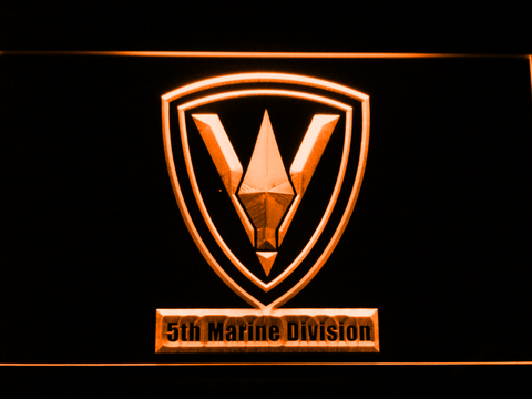 Image of US Marine Corps 5th Marine Division LED Neon Sign - Orange - SafeSpecial