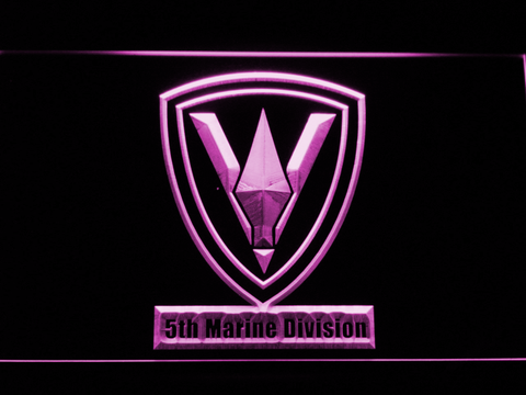 Image of US Marine Corps 5th Marine Division LED Neon Sign - Purple - SafeSpecial