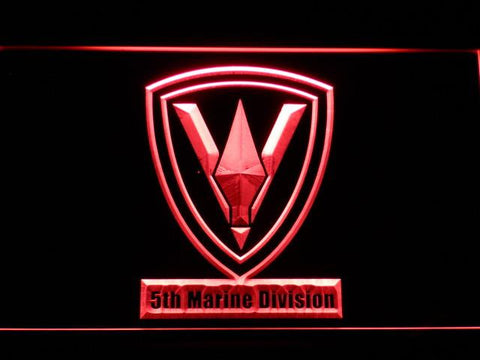 Image of US Marine Corps 5th Marine Division LED Neon Sign - Red - SafeSpecial