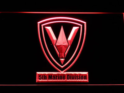 US Marine Corps 5th Marine Division LED Neon Sign - Red - SafeSpecial