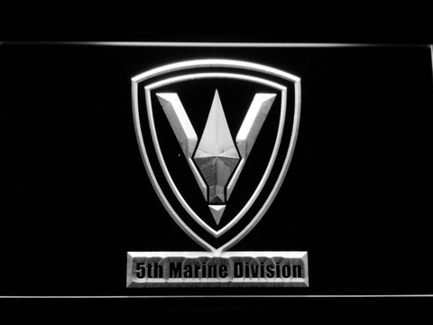 Image of US Marine Corps 5th Marine Division LED Neon Sign - White - SafeSpecial