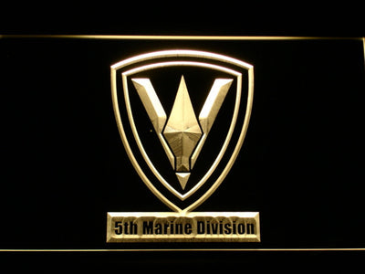 US Marine Corps 5th Marine Division LED Neon Sign - Yellow - SafeSpecial