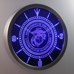 US Marine Corps LED Neon Wall Clock - Blue - SafeSpecial